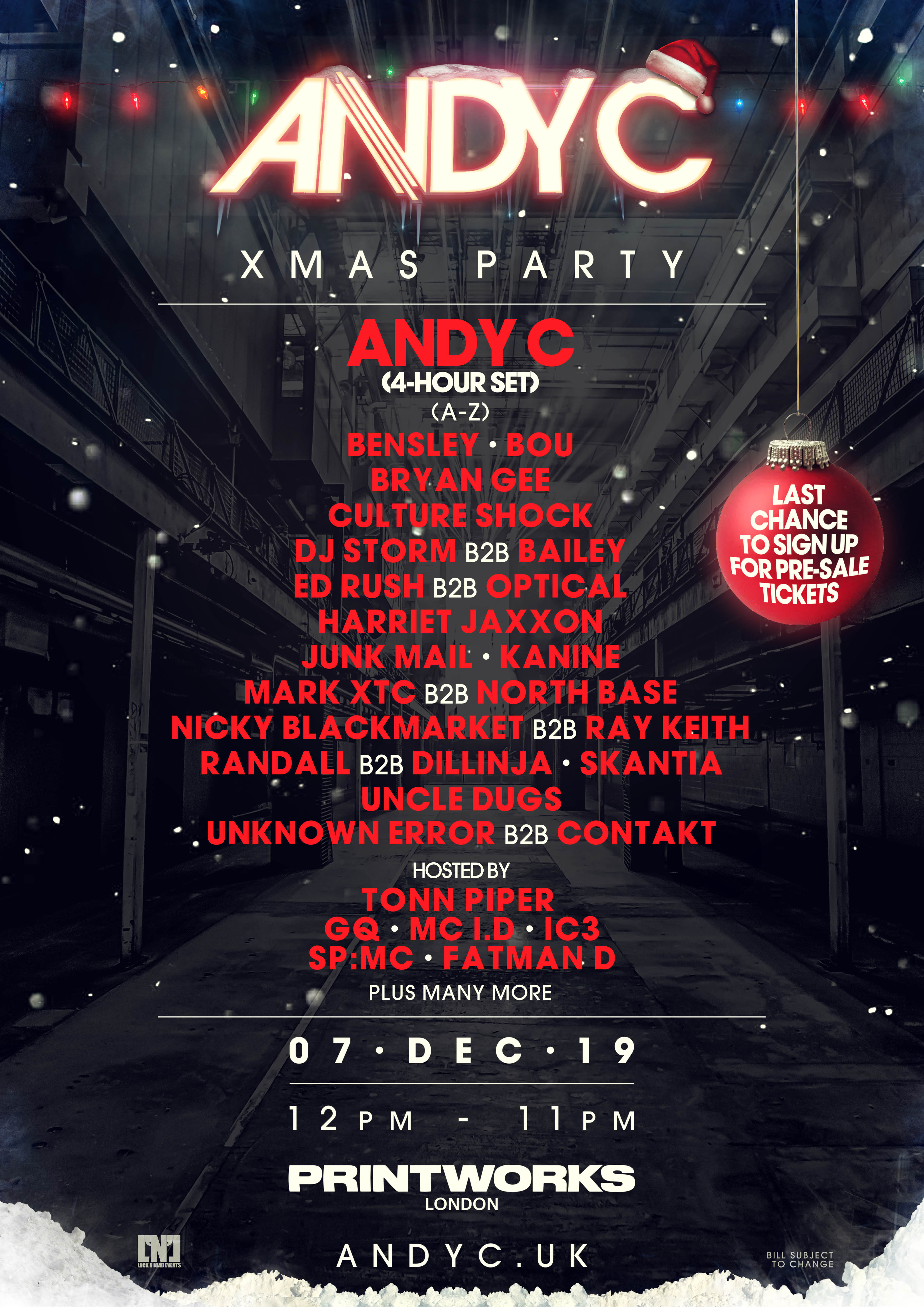 Andy C - UK Xmas Party Lineup