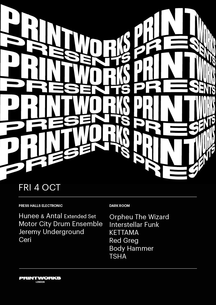 Printworks Presents Lineup