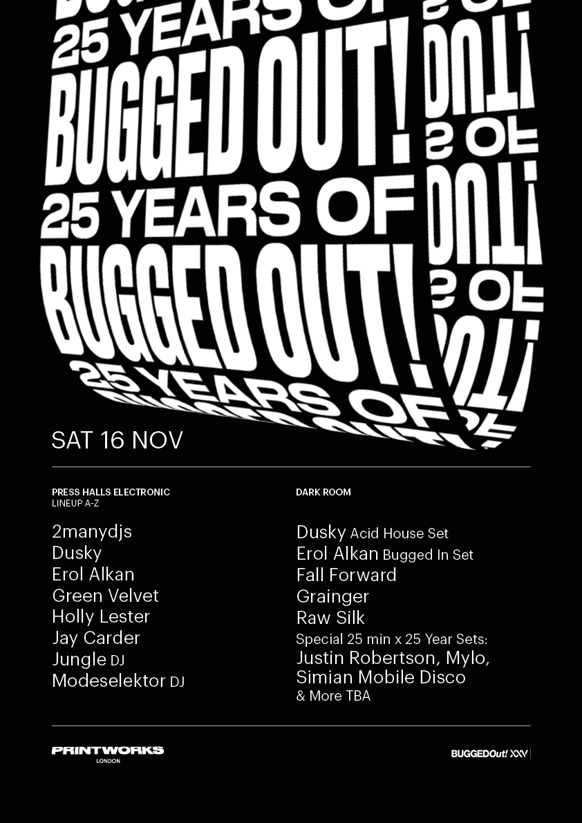 25 Years of Bugged Out! Lineup